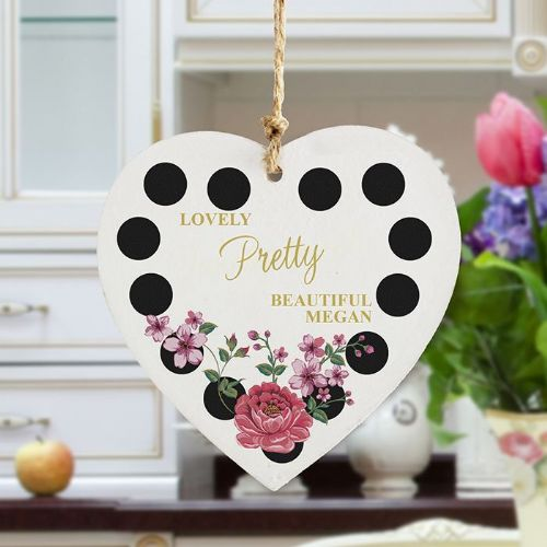 Personalised Floral Dot Wooden Heart Decoration